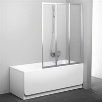 Шторка на ванну Ravak VS3 130 Transparent, профиль белый