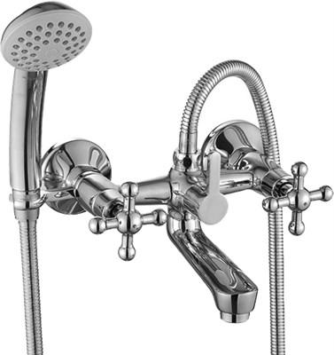 Смеситель для ванны и душа Rossinka Silvermix G02-83 двухвентильный с лейкой и шлангом, настенное крепление, хром - фото 156702