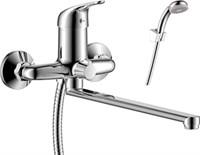 Смеситель для ванны и душа Rossinka Silvermix Y40-32 однорычажный с лейкой и шлангом, хром