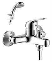 Смеситель для ванны и душа Rossinka Silvermix Y40-30 однорычажный с лейкой и шлангом, настенное крепление, хром