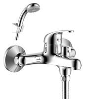 Смеситель для ванны и душа Rossinka Silvermix Y35-30 однорычажный с лейкой и шлангом, настенное крепление, хром