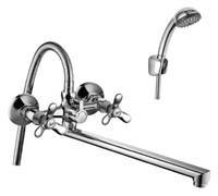 Смеситель для ванны и душа Rossinka Silvermix Q02-80 двухвентильный с лейкой и шлангом, настенное крепление, хром