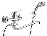 Смеситель для ванны и душа Rossinka Silvermix Y40-35 однорычажный с лейкой и шлангом, настенное крепление, хром