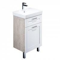 Тумба с умывальником для ванной комнаты напольная белая/под дерево 50 см Sena IDDIS SEN50W1i95K (SEN50W1i95K)