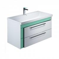 Тумба с умывальником для ванной комнаты подвесная белая/мятная 90 см Color Plus IDDIS COL90M0i95K (COL90M0i95K)
