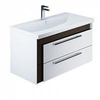 Тумба с умывальником для ванной комнаты подвесная белая/под дерево 90 см Color Plus IDDIS COL90W0i95K (COL90W0i95K)