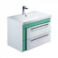 Тумба с умывальником для ванной комнаты подвесная белая/мятная 70 см Color Plus IDDIS COL70M0i95K (COL70M0i95K)