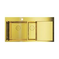 Кухонная мойка Omoikiri Akisame 100-2-LG-L нерж. сталь/светлое золото(4973089)