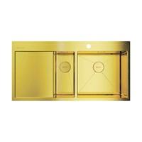 Кухонная мойка Omoikiri Akisame 100-2-LG-R нерж. сталь/светлое золото(4973090)