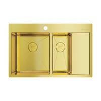 Кухонная мойка Omoikiri Akisame 78-2-LG-L нерж.сталь/светлое золото(4973087)
