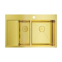 Кухонная мойка Omoikiri Akisame 78-2-LG-R нерж.сталь/светлое золото(4973088)
