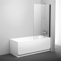 Шторка для ванны Ravak PVS1-80 черный+транспарент  (79840300Z1)