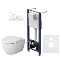 Комплект инсталляция с клав Pro L белый с подвесным унитазом Awe с сид м/лифт   (IS49001.111738)