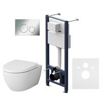 Комплект инсталляция с клав Pro L глянц хром с подвесным унитазом Awe с сид м/лифт  (IS49051.111738)