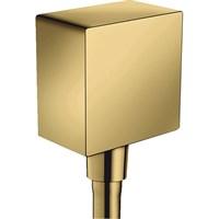 Шланговое подсоединение Hansgrohe Fixfit Square 26455990 с клапаном обратного тока Полированное золото
